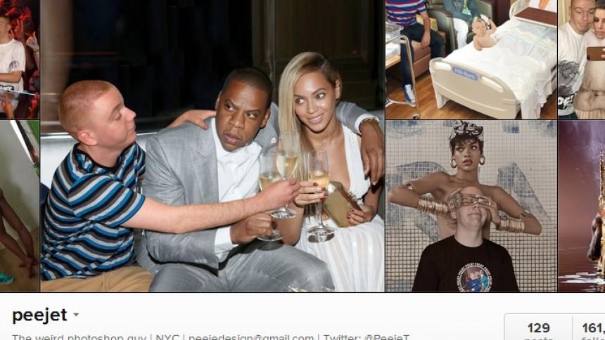 Se, når han photoshopper sig sammen med stjernerne