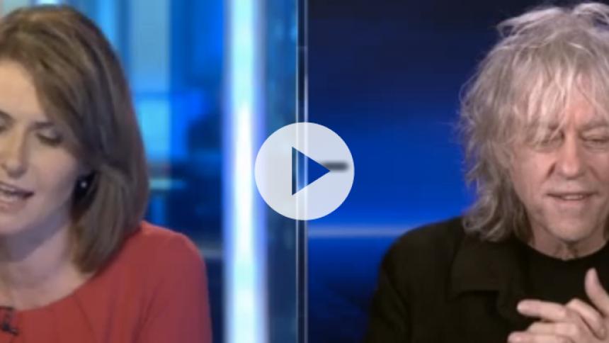 Se Sky News afbryde Bob Geldof efter flere bandeord