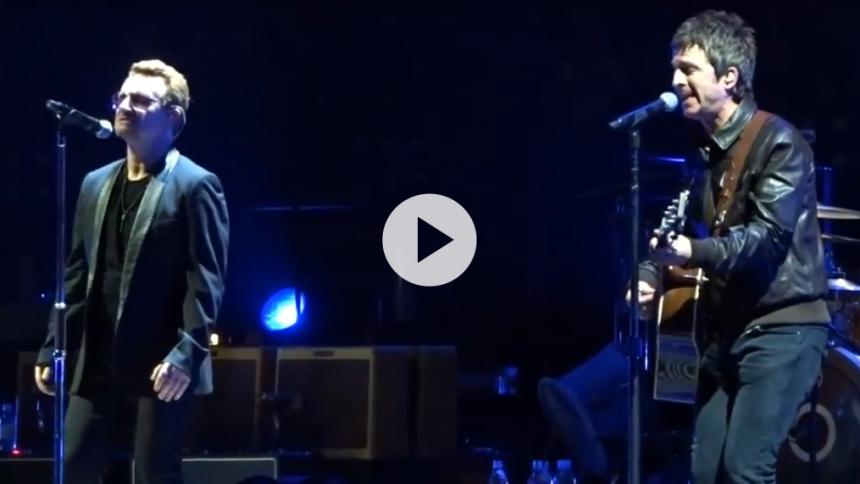 Video: U2 får besøg af Noel Gallagher i Beatles-cover