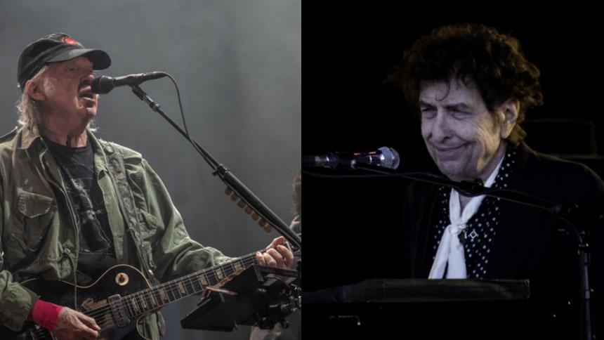 Se Bob Dylan og Neil Young optræde sammen for første gang i 25 år