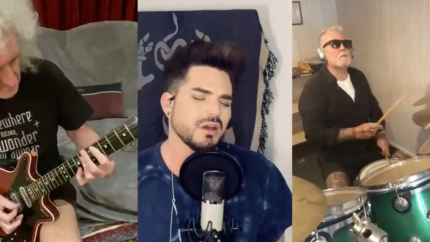 "VIDEO: Se Queen + Adam Lambert fremføre ""We Are the Champions"" i karantæne – med ny tekst"